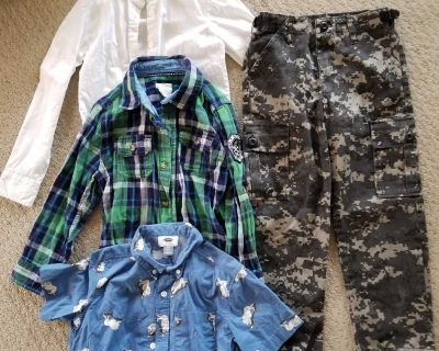 Button up shirt and cargo pants size S or 6/7