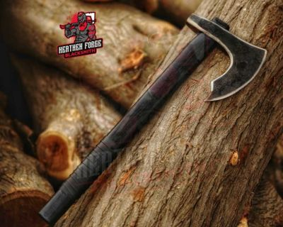 Blacked Out Bearded Axe, high carbon steel, ash wood, leather wraps