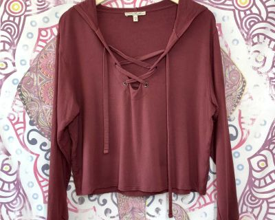 Express One Eleven Maroon Hooded Oversized Crop Top Long Sleeve