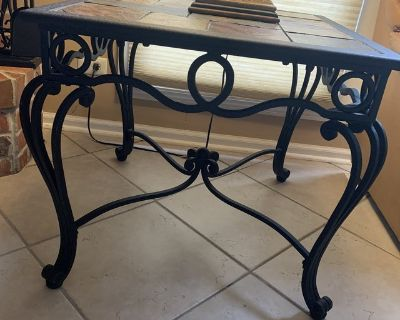 Set of 2 Side Tables and Coffee Table in excellent condition. Iron and Slate top.