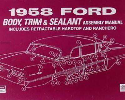 1958 Ford Car Body Assembly Manual Ranchero Fairlane Custom Suliner Retractable