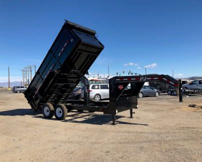GooseneckLow Pro High Side Dump (DM), 7x16 Gooseneck Dump Trailer, PJ Dump Trailer DMG162-4