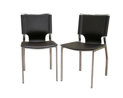Mccrady Leather Parsons Accent Chairs (Set of 2)