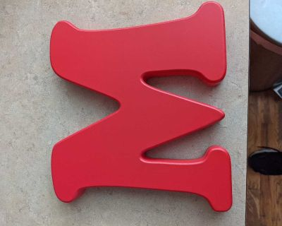 Big red M Wall or table decor never used.