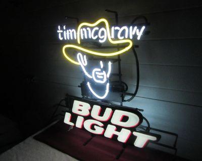 Tim McGraw Bud Light Neon Sign COLLECTIBLE