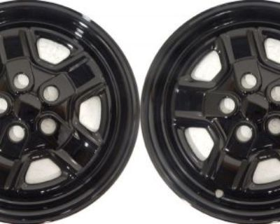 """(2) 2014 Jeep Compass 16"""" Black Wheel Skins / Liners / Hubcaps Imp-78"""