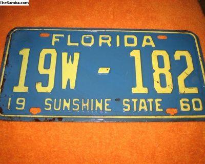 1960 vintage florida license plate register now!