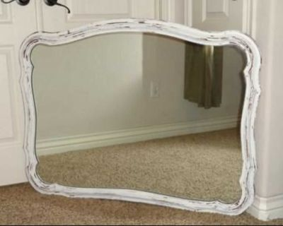 Large Vintage Chippy Distressed French Provincial Farmhouse Mirror