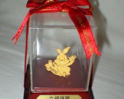 Gold Bunny Rabbit in Original Sealed Display Case - Lukfook Jeweller