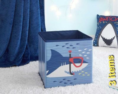 SHARK set for Kids, 3 Pieces includes Storage cube, Throw & Decorative Pillow