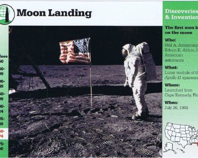 Moon Landing 1969 Neil Armstrong - Grolier Life in America Information Card