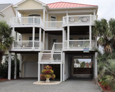 2nd Row Beachhouse with Private pool and poolside fridge, bar seating, max fun. - Ocean Isle Beach