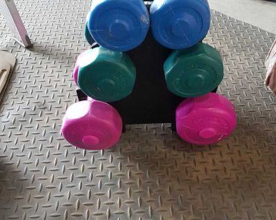 Set of dumbbells with stand