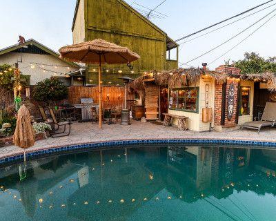 Vintage Backyard w Tiki Bar, Swimming Pool, and Pond, Long Beach, CA
