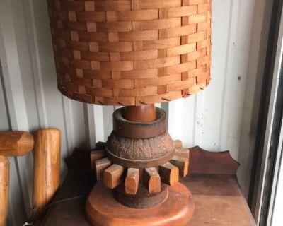Antique wheel hub lamp huge