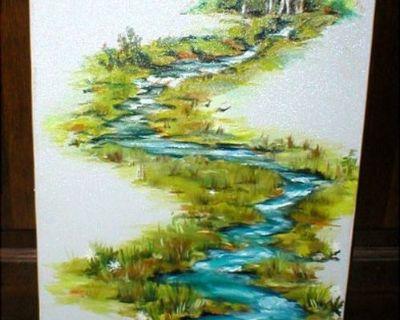 Original Oil on Canvas Vintage Art - Water Stream - Signed