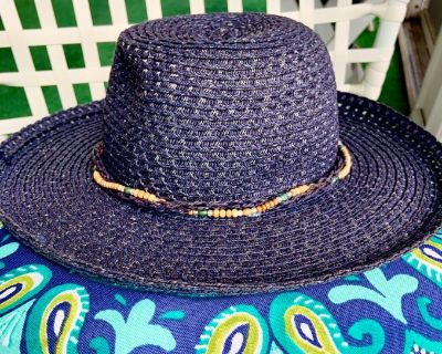 Woman's Navy Blue Straw Brimmed Hat