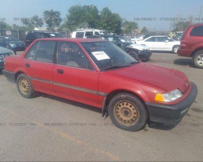Salvage Red 1991 Honda Civic