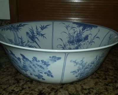 Okinawan blue and white pitcher and bowl