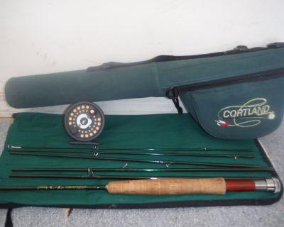 Cortland 6 pc #6w fly rod, Vista D reel w/ line, backing, tippet