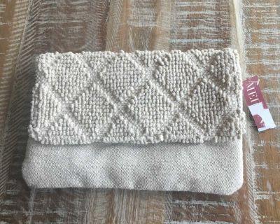 Merona boho tufted woven jute fabric clutch
