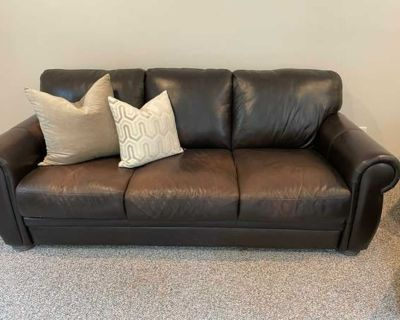 Donate! Leather couch, 2 chairs, ottoman