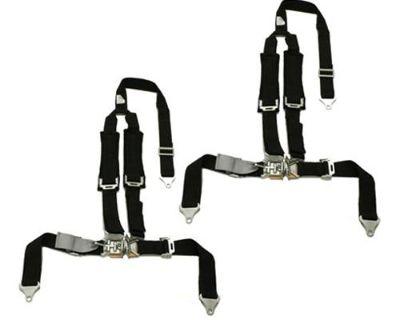 2 Kawasaki Teryx Tiger 4 Point Y Harness Seat Belts Latch & Link 2x2 W Pad Black