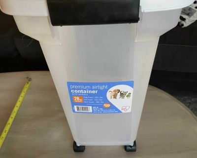 Large dog food container on wheels