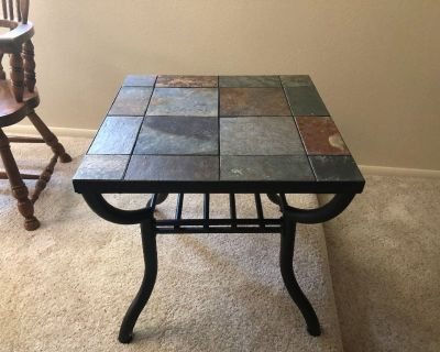 wrought iron and tile coffee table