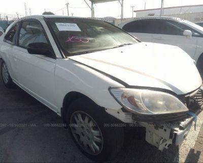 Salvage White 2005 Honda Civic Cpe