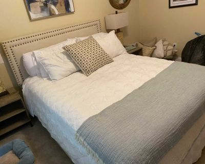 Never used matress , platform queen platform bed and two side tables.