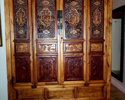 Antique Chinese Carving Armoire Cabinet Hutch