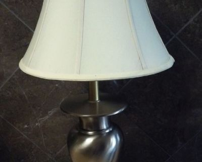 Stylish Contemporary 21-inch Solid Stainless Steel Tall Stiffel Table Lamp.