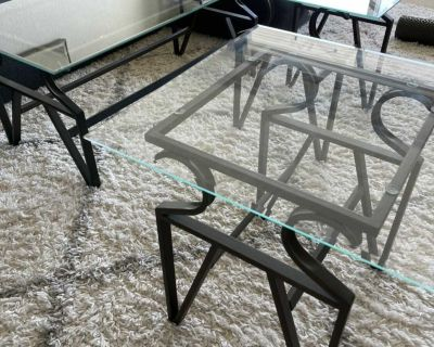 Glass coffee table with 2 side tables