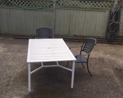 patio table and 2 chairs metal