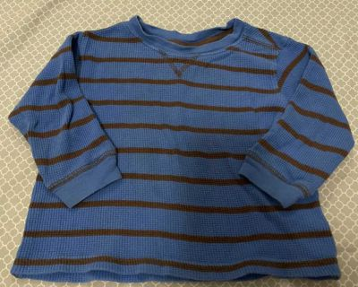 Faded Glory 18m brown/blue striped thermal ls shirt