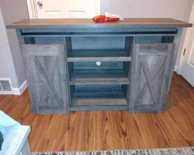 Grey wood Tv stand with sliding doors