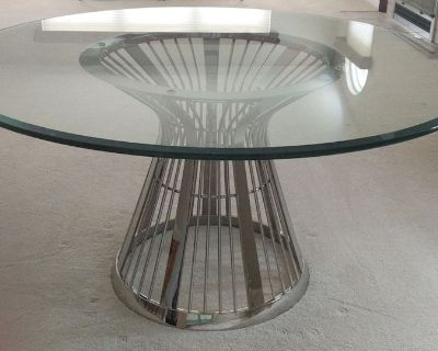 Round glass table with silver base, wood bookshelf bedframe - CANTON
