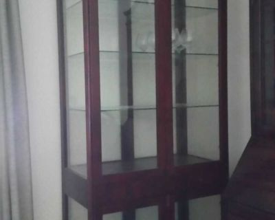 Curio/China cabinet and matching 2 door/1 drawer Side cabinet/bar