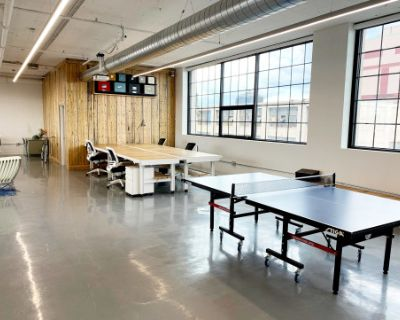 Sunny Industrial Meeting Space with Skyline Views, Boston, MA