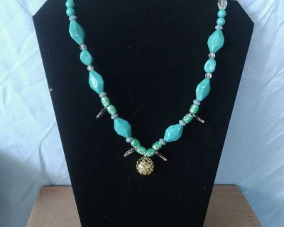 Turquoise Beaded Charm Necklace