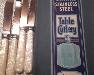 Vintage mother of pearl Sheffield Stainless steel table cutlery