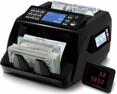 Money Counter Machine Mixed Denomination Value Counting, Bank Grade 8 Counterfeit Detections with Serial Number & Currency Recognizes