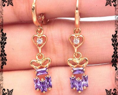 New - Dainty Amethyst Gold Plated Clasp Earrings