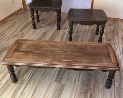 Wood coffee table and side tables set