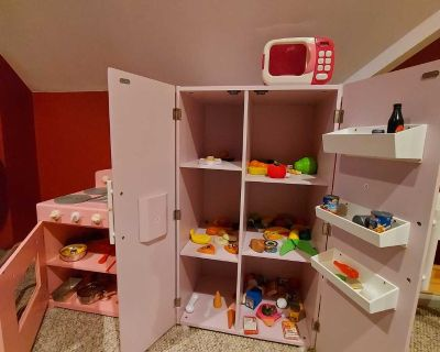 Wood play stove, refrigerator and microwave