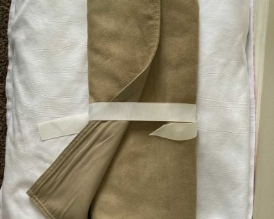 Pottery Barn table runner. Suede on one side. Khaki cotton on the other. Reversible. 18 x 109