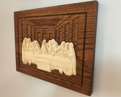 Last Supper plaque 3D Carvings 9.25in x12in x 0.75in Red Oak