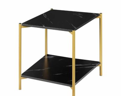Marble-style and gold side table