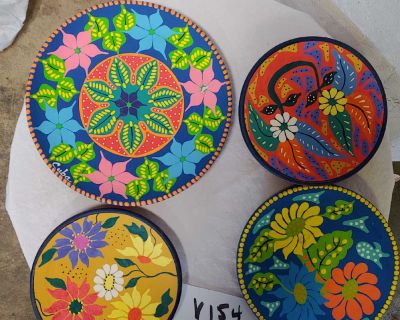 4 clay hand painted plates with hangers